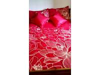 Quilt cover and pillow cases red and cream from next