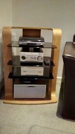 Sony Hi Fi system with matching speakers, stands and unit.
