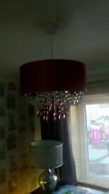Lovely red beaded lightshade