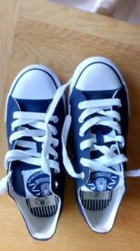 Navy/White Canvas Trainers