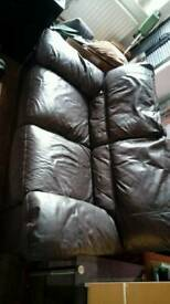 2 seater leather settee x2