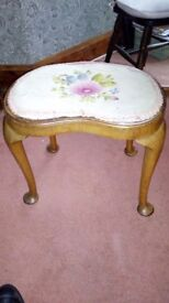 Victorian stool in yes with embroidered top