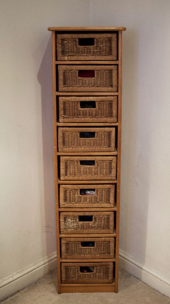 Tall Wooden Chest Tower With 9 Wicker Drawers Storage