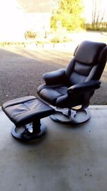 Black faux leather recliner & footstool