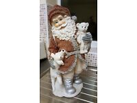 Large Father Christmas/ Santa Figurine with Lamb & Teddy Bear - Measures H42cm