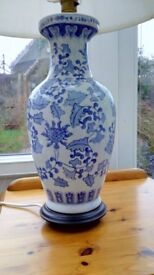 Beautiful porcelain lamp and shade