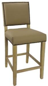 Leather Counter Stool in Light Taupe with Natural Wood Legs