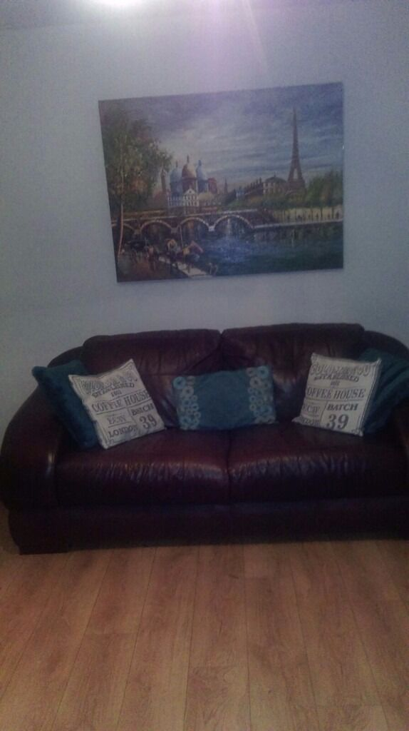 Brown leather sofa 3 n a 2 seater