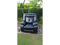 Ex-display Hanover Black Leather Manual Reclining Arm Chair