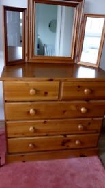 Chest of drawers and bedside cabinet and mirror