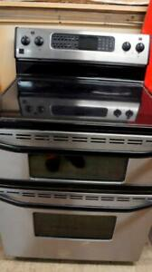 WORKING STAINLESS DUAL OVEN GLASS TOP STOVE