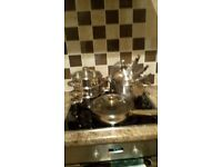 Selection of stainless steel pans and small steamer