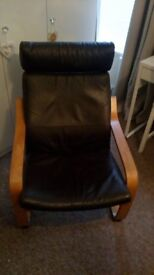 Brown leather IKEA chair. Good condition.