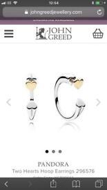 Pandora two hearts earrings- new in box unworn