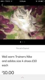 Well worn woman's trainers Nike adidas £10 each.