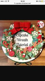Cupcake Christmas wreath
