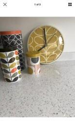 Orla kiely storage jars and clock .