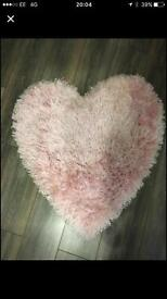 Girls pink heart rug from Next