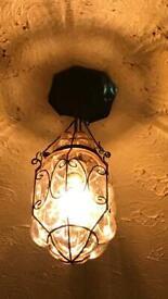 Venetian blown glass caged ceiling light
