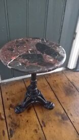 Small Marble & cast Iron side Table/House or garden