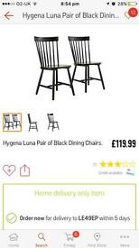 Hygena Luna Pair of Black Dining Chairs