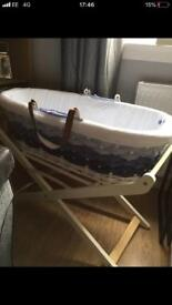 Mothercare hoodless Moses basket in blue