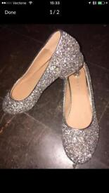RIVER ISLAND women's girls NEW glitter party shoes heels silver 3 topshop zara newlook