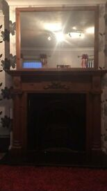 fireplace and matching mirror