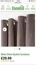 New dunelm mill mink brown eyelet curtains 66x72 cost £30