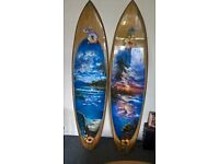 """Two airbrushed surf boards full size (7ft 9 ..19""""), vintage. need some restoration. 7ft 9"""