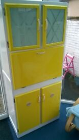 Vintage Retro 50s/60s Kitchen Larder unit – Yellow/White - Beach hut.