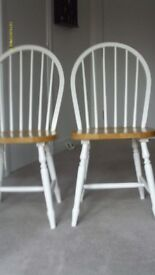 Pair of Windsor Dining Chairs in White and Natural