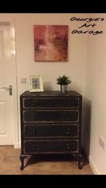 Elegant very solid upcycled graphite and gold effect finish chest of drawers