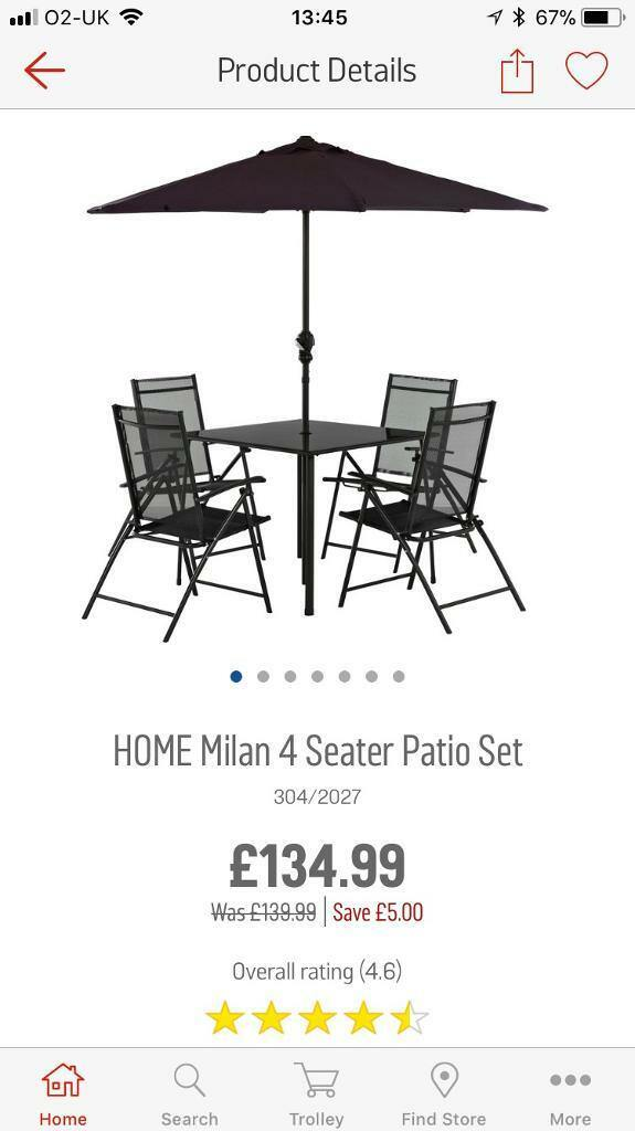 Argos Milan 4 Seat Garden Patio Set New