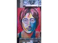 portrait canvas painting original in acrylics. john lennon the legend