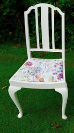Beautiful Voyage covered chair in Hedgerow fabric,