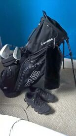 Ping Golf Bag with Titleist vokey 58 degree wedge and Cleveland 54 degree wedge and addidas shoes