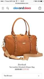 LOVELY STORKSAK LEATHER CHANGING BAG FROM JOHN LEWIS