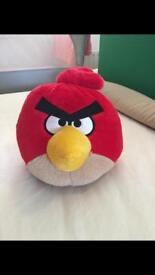 """Large red angry bird teddy, size about 13"""""""