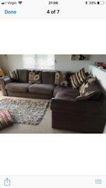 Brown fabric scs corner sofa and cushions