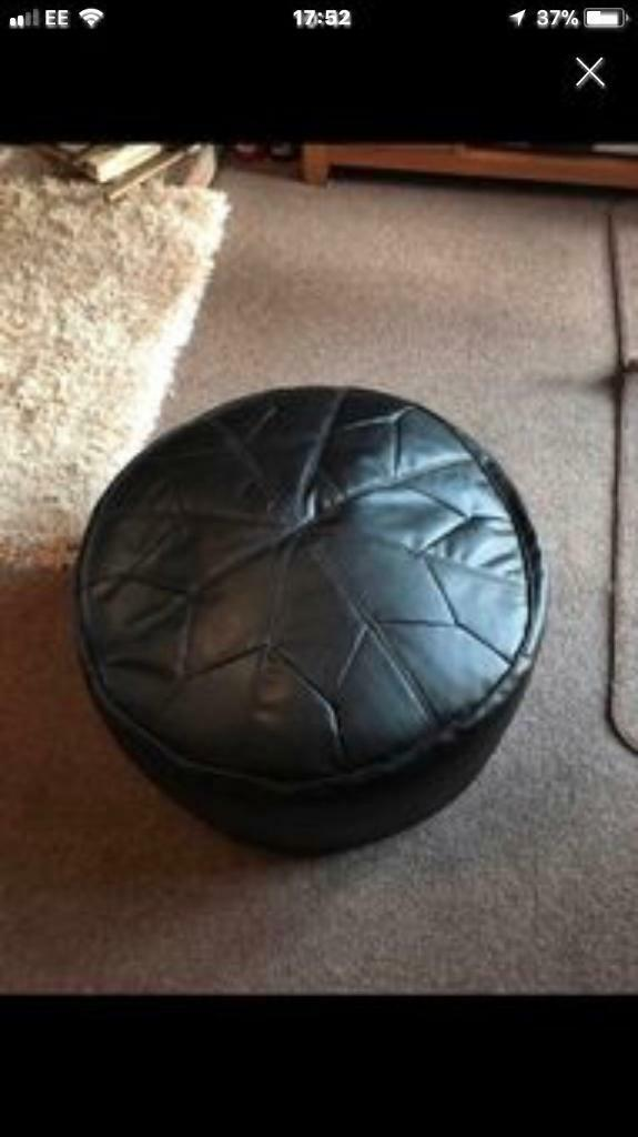 Black Leather Look Round Stool Pouffe