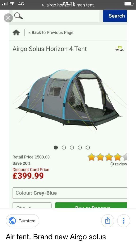 Airgo Horizon 4 man Inflatable Tent | in Tranent, East Lothian | Gumtree