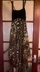 ladies size 12 black, leopard print dress (like new)
