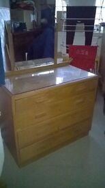 1945 dressing table. Four drawers and mirror. Solid oak, utility design.
