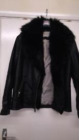 River Island Leather Faux Fur Jacket
