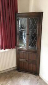 Priory Oak Corner Display Cabinet/Cupboard Shabby Chic