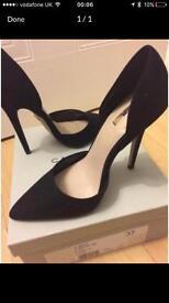 Carvela black suede heels