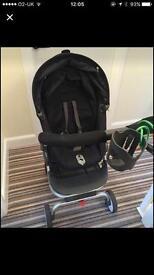 Stokke Scoot in black with raincover, pram liner & cup holder Pushchair pram