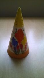 CLARICE CLIFF CROCUS PATTERN SUGAR SHAKER BY MOORLAND
