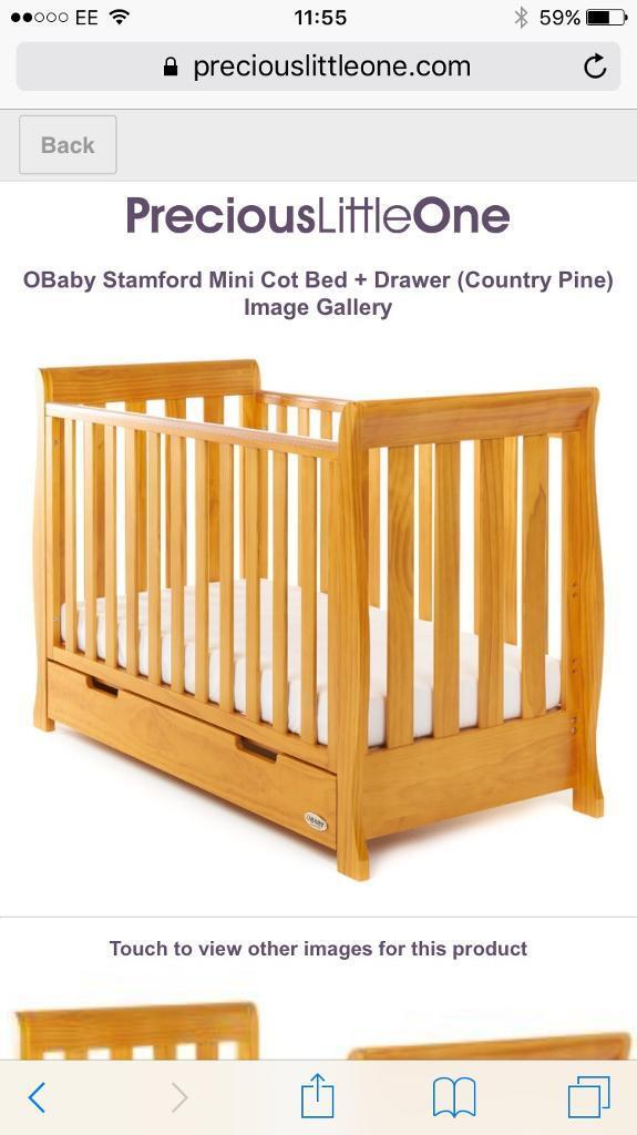 Mini cot bed and drawer (mattress optional)